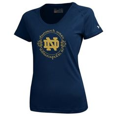 Notre Dame Fighting Irish Under Armour Womens Shamrock Series Circle Tech Performance T-Shirt - Navy Blue