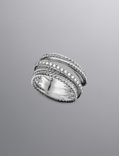 Large Pave Diamond Crossover Ring :)