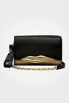 DVF | Lips Metallic Mini Bag in black/gold, Resort 2012/13: Zoom