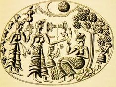 Women and girls seeking Goddess or Priestess in Grove Minoan Seal