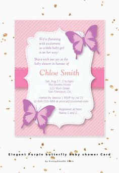 A butterfly represents grace and elegance. This elegant and classy butterfly baby shower invitation is perfect for inviting guests to celebrate with mummy to be before her big day. The invitation is treated with digital shadow effects to add depth for the objects. Pink and purple colour choices makes this a girly and glamorous invitation for mother to be!