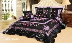 Tache 4 Piece Black and Purple Midnight Lily Pond Patchwork Comforter Quilt Set -Twin