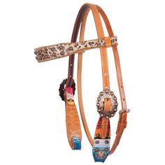 Fallon Taylor Serape & Leopard Browband Headstall #Cactus