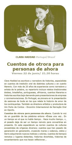 Clara Hadda, Portugal/Brasil. Viernes 22 de junio de 2018 a las 21.30 horas. Portugal, Movies, Movie Posters, To Tell, Brazil, June 22, Being A Writer, Friday, Writers