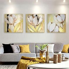 3 Panels Oil Painting Handmade Hand Painted Wall Art Still Life Plant Flower Home Decoration Décor Rolled Canvas No Frame Unstretched 2021 - kr. 281 Abstract Flower Art, Flower Painting Canvas, Oil Painting Flowers, Abstract Canvas Art, Canvas Wall Art, Abstract Paintings, Painted Leaves, Hand Painted, Graffiti