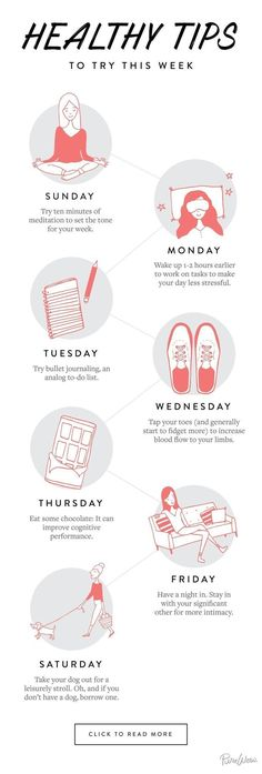 Instead of trying to overhaul the entire week, focus on one small thing a day. T… Instead of trying to overhaul the entire week, focus on one small thing a day. These little changes really add up. Self Improvement Wellness Tips, Health And Wellness, Health Tips, Health Fitness, Yoga Fitness, Health Benefits, Fitness Hacks, Fitness Goals, Mental Health Day