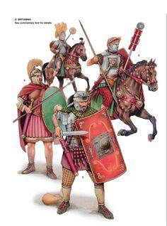 Britannia. 1:Signifer,Ala Augusta Petriana Milliaria Civium Romanorium;Corstopitum,late 1st century AD.2:Sextus Valerius Genialis,Ala Augusta Vecontiorum Civium Romanorum,dressed for Hippika Gymansia;Corinium,1st-2nd century AD.3:Legionary,Legio II  Augusta;Isca Silurum,Hadrianic period.4:Legionary cavalryman,Legio II Augusta;Antonine Wall,mid 2-century AD.