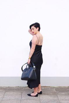 The little black satin dress