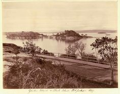 Garden Island in Sydney Harbour from the Domain in 1877. •State Library of NSW•   🌹