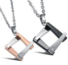 Matching Stainless Steel Square Love Pendant Necklace for Couple #UnbrandedGeneric #Pendant