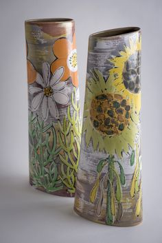 "Lisa Katzenstein ""My ceramics falls into the category of ""maolica"" or tin-glazed earthernware. All my work is hand painted on to the raw white glaze, the piece is then glazed ..."""