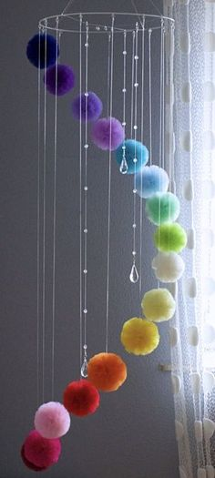Rainbow Centerpiece for Garden or Living Room, Floating Mobile with Crystals Rainbow Mobile for Nursery Colorful Baby Mobile Teenage Room Rainbow Centerpiece, Centerpieces, Diy Para A Casa, Mobiles For Kids, Pom Pom Crafts, Teenage Room, Hanging Mobile, Pom Pom Mobile, Diy Home Crafts