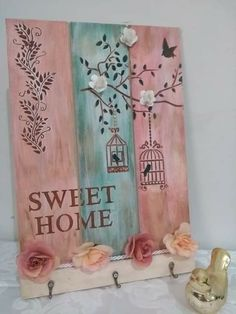 Arte Pallet, Wood Pallet Art, Wood Pallets, Homemade Crafts, Diy And Crafts, Wood Projects, Projects To Try, Mix Media, Stencil