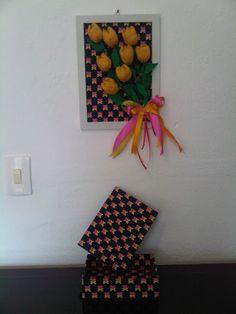 quadrinho de tulipas de tecido e caixa