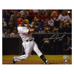 Mounted Memories Texas Rangers Mike Napoli Autographed 8x10 2011 World Series Photo