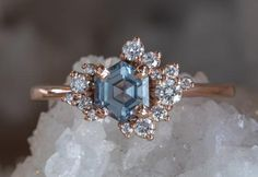 One Of A Kind Step Cut Montana Sapphire + Diamond Cluster Ring – Alexis Russell Sapphire Diamond Engagement, Platinum Engagement Rings, Diamond Cluster Ring, Engagement Ring Settings, Diamond Bands, Gemstone Engagement Rings, Solitaire Engagement, Classic Engagement Rings, Unique Rings