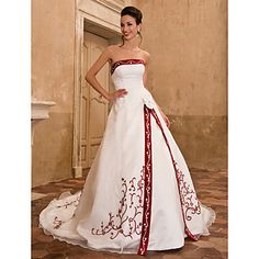 Wedding Dress A Line Chapel Train Organza Satin Strapless With Embroidery Crystal Detailing and Split Front – AUD $ 206.99