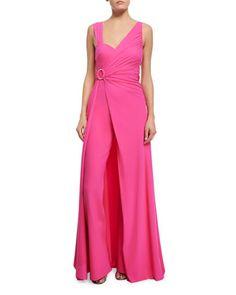 Tukarlie+Two-in-One+Convertible+Jumpsuit,+Glossy+Pink++by+La+Petite+Robe+di+Chiara+Boni+at+Neiman+Marcus.