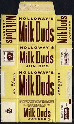Holloway's - Milk Duds Juniors candy box - 1970's by JasonLiebig, via Flickr Retro Candy, Vintage Candy, Vintage Toys, Retro Advertising, Vintage Advertisements, Miniature Food, Miniature Dolls, Milk Duds, Candy Labels