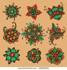 Vector set of 9 handsketched mehndi flowers. Henna florals collection. Oriental flower doodles based on traditional indian ornaments. Ethnic flash temporary tattoo. Anti-stress color book template