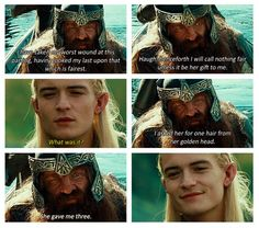 There's so much more meaning behind the fact that Galadriel gave Gimli three strands of her hair. He doesn't know it, but Legolas does. <3
