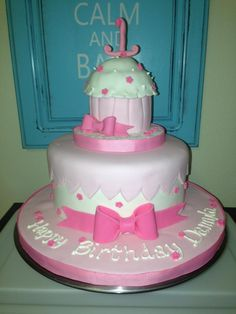 Pretty in Pink 1st Birthday Cake Facebook.com/beccascakesandbakes