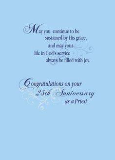 Congratulations on your anniversary ordination anniversary card anniversary of priestly ordination poems 25th anniversary priest blue silver 2 99 front for thecheapjerseys Image collections