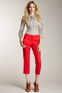Colored pants make a bold fashion statement and are very in right now.