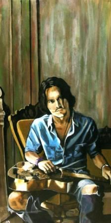 Johnny Depp.  Painting by my talented friend, South African artist, Jacqui Simpson www.thepaintingcave.com.  Isn't this gorgeous?  Please share?  Jacqui is raising funds for an operation.