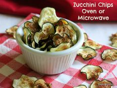 Zucchini Chips - 5 Minute microwave recipe or you can oven bake. Tips for a perfectly crisped chip.