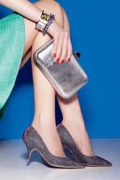 Women's Fashion: Mid Town (BADGLEY MISCHKA's iridescent glitter pumps. Skirt by Nanette Lepore, Rebecca Minkoff bag, Stella & Dot bracelets)