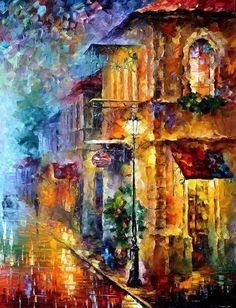 Leonid Afremov - Street of Memories,oil on canvas (art,oil painting,colorful,rainbow,beautiful)
