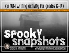 "This Halloween Writing: Spooky Snapshots mini-unit is perfect for middle school and high school students! They will love writing about the 24 ""spooky"" setting images that come in this unit."