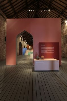 Exhibition design doorways, unusual openings symbolizing a culture and time. Living Objects. Made for India by Doshi Levien