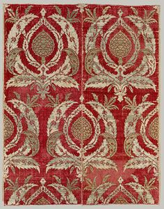Pieced panel of brocaded silk, second half of 16th century  Probably Bursa, Turkey  Silk velvet pile and voided areas brocaded with silver-gilt-wrapped silk wefts