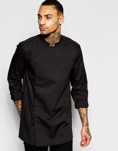 ASOS+Longline+Shirt+With+Asymmetric+In+Black+With+Long+Sleeves