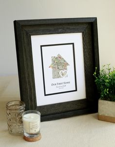 Our First Home, New Home Housewarming Gift, Personalized Map, Realtor Closing Gift, Realtor Client Gift, Personalized First Home Gift First Home Gifts, New Home Gifts, Wedding Vow Art, Long Distance Relationship Gifts, First Anniversary Gifts, Client Gifts, Paper Hearts, Personalized Wedding Gifts, Corporate Gifts