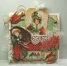 Beautiful Vintage Card with Tag Pocket using paper and images from CD # 6 by Glenda Brooks Guest DT in Crafty Secrets December Linky Blog Hop