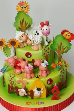 Farm birthday cake - how cute! Sweet Cakes, Cute Cakes, Farm Animal Cakes, Farm Animals, Decors Pate A Sucre, Farm Birthday Cakes, Gateau Baby Shower, Rodjendanske Torte, Farm Cake