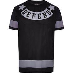 1113a57c693 Black defend print mesh t-shirt Mesh T Shirt
