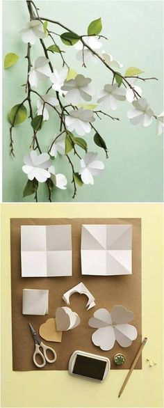 DiY for my tree Paper Flower Backdrop, Paper Flowers Diy, Flower Crafts, Paper Crafts Origami, Diy Paper, Easy Crafts For Kids, Diy And Crafts, Material Flowers, Flower Bottle