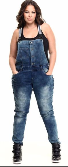 Details about Plus Size Denim Overalls Jumpsuit Skinny Leg Black ...