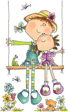 Sisters by LeesaRez Cartoon Drawings, Cute Drawings, Stick Figures, Watercolor Cards, Whimsical Art, Cute Illustration, Rock Art, Doodle Art, Cute Art