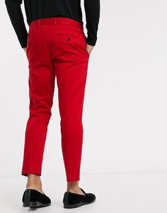 River Island skinny suit trousers in red | ASOS
