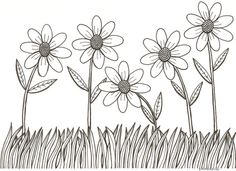 pen and ink drawing flowers
