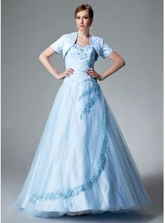 Ball-Gown Sweetheart Floor-Length Satin Tulle Quinceanera Dress With Ruffle Lace Beading (021004551)