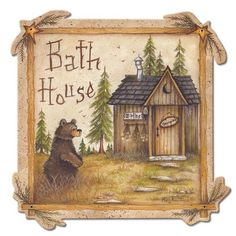 Bath House Bear laser cut out metal sign, 13 x 13 Cabin Lodge home decor garage art PS by HomeDecorGarageArt on Etsy