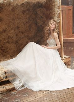 """""""Dani"""" gown * Bridal Gowns, Wedding Dresses by Hayley Paige - Style HP6462 * Bolero/shoulder necklace is detachable and sold separately"""