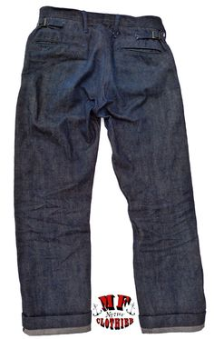 Raw 14 Oz. indigo dyed selvedge denim, left hand twill. 50% cotton blended with 50% recycled sugar cane fibers