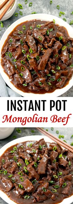 Instant Pot Mongolian Beef ~ Everything cooks in one pot for easy clean-up. Homemade Mongolian beef tastes better and is healthier than take-out. ** CLICK PIN TO LEARN MORE! Meat Recipes, Asian Recipes, Crockpot Recipes, Cooking Recipes, Healthy Recipes, Cooking Bacon, Cooking Oil, Recipes For Round Steak, One Pot Recipes